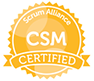 Scrum Alliance certified scrummaster CSM Badge